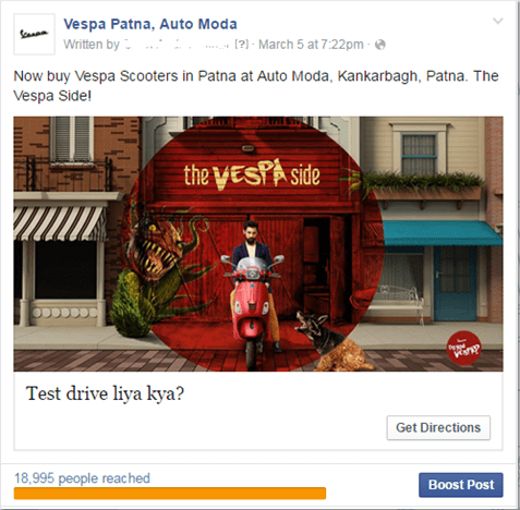 Social Media Handling  for Vespa, Automoda Patna on  Facebook and Instagram including various campaign.